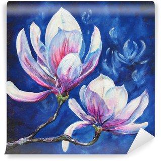 Vinyl Fototapete Magnolia Acryl gemalt