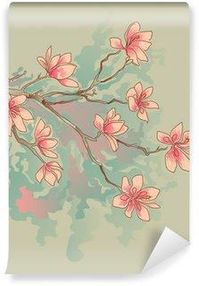 Vinyl Fototapete Magnolia Aquarell