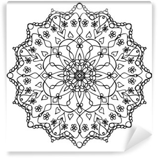 Vinyl-Fototapete Mandala Schwarz-Weiß