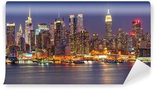 Vinyl-Fototapete Manhattan bei Nacht
