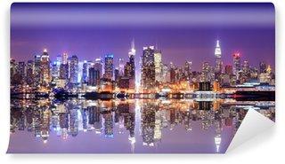 Vinyl Fototapete Manhattan Skyline mit Reflexionen