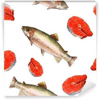 Vinyl Fototapete Meerforelle Fisch. Handgemachte Aquarell-Illustration auf einem weißen Papier Kunst Hintergrund