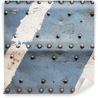 Vinyl-Fototapete Metall Textur mit Nieten, Flugzeugrumpf