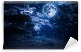 Vinyl-Fototapete Mond und Wolken in der Nacht