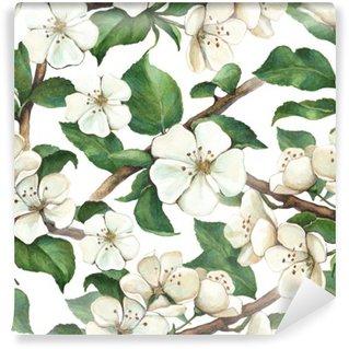 Vinyl-Fototapete Muster mit Aquarell Blumen Apfel