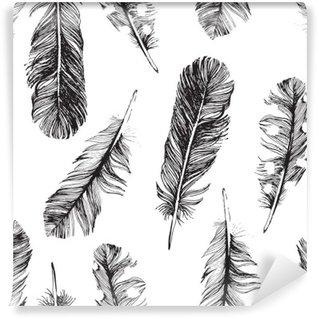 Vinyl-Fototapete Muster mit Hand gezeichneten Federn