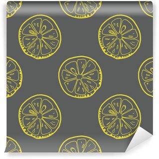 Vinyl Fototapete Muster mit Zitronenscheiben auf grauem Hintergrund.