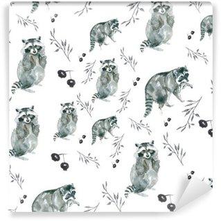 Vinyl-Fototapete Muster Waschbären. Waschbären und kleine Zweige, Beeren. Aquarell
