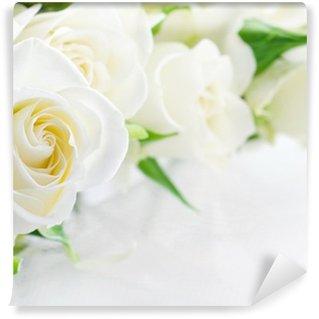 Vinyl-Fototapete Nahaufnahme von weißen Rosen