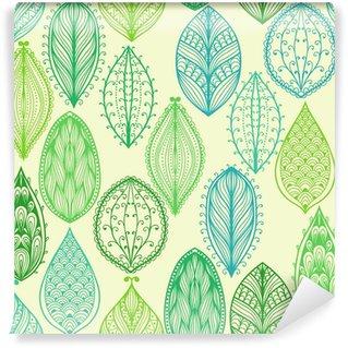 Vinyl-Fototapete Nahtlose Hand gezeichnet vintage Muster mit grünen Blättern verziert
