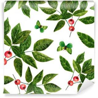 Vinyl-Fototapete Nahtlose Hintergrundmuster mit Aquarell Blätter, Beeren und Schmetterlinge