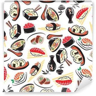 Vinyl Fototapete Nahtlose Muster der traditionellen japanischen Küche