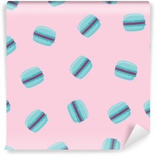Vinyl-Fototapete Nahtlose Muster mit blauen Makroneplätzchen auf Rosa. Vektor-Illustration.