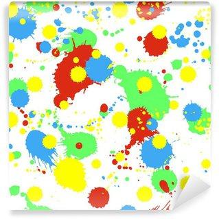 Vinyl-Fototapete Nahtlose Muster mit bunten Spritzern, Klecksen und Flecken