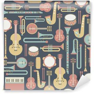 Vinyl-Fototapete Nahtlose Muster mit Musikinstrumenten. auf dunklem Hintergrund