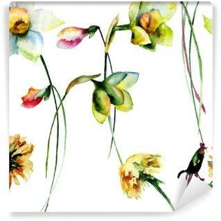 Vinyl-Fototapete Nahtlose Muster mit Narzisse und Löwenzahn Blumen