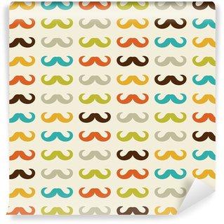 Vinyl-Fototapete Nahtlose Muster mit Schnurrbart