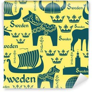 Schwedische traditionelle muster  Fototapete Dunkle nahtlose Muster mit Symbolen von Schweden ...