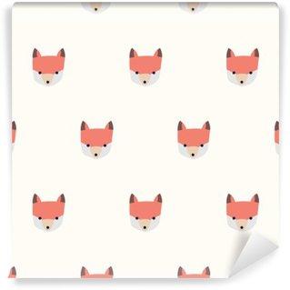 Vinyl-Fototapete Nahtlose niedlichen Fuchs Muster