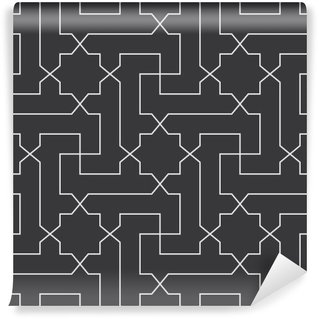 Vinyl-Fototapete Nahtlose Schwarz-Weiß der klassischen arabischen diagonalen Kreuz und Stern-Muster Vektor