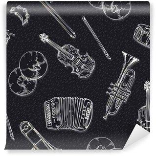 Vinyl-Fototapete Nahtlose Vektor-Muster mit Musikinstrumenten