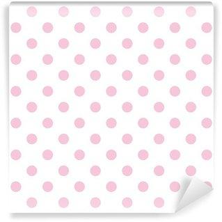 Vinyl-Fototapete Nahtlose Vektor-Muster Pastell rosa Tupfen weißem Hintergrund