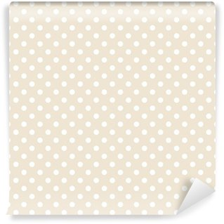 Vinyl-Fototapete Nahtlose Vektor-Muster weißen Tupfen beige Hintergrund