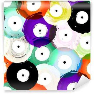 Vinyl-Fototapete Nahtlose Vinyl-Schallplatten Hintergrund-Muster, Vektor-Illustration
