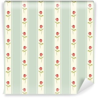Vinyl-Fototapete Nette nahtlose Shabby Chic Muster mit Rosen und Tupfen ideal für Küche Textilien oder Bettwäsche Stoff, Vorhänge oder Innen Tapeten-Design kann für Schrott-Anmeldungs-Papier usw. verwendet werden