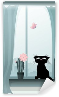 Vinyl-Fototapete Nette schwarze Katze Jagd nach einem Schmetterling
