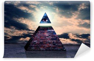 Vinyl Fototapete Neue Weltordnung Pyramide von illuminati
