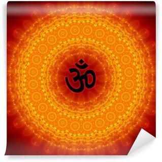 Vinyl-Fototapete Om Sign On Mandala Hintergrund