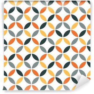 Vinyl-Fototapete Orangefarbene Geometrie Retro nahtlose Muster