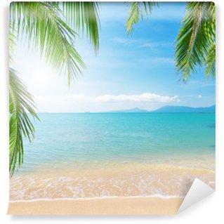 Vinyl Fototapete Palm und tropischen Strand