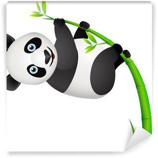 Vinyl-Fototapete Panda und Bambus-Baum