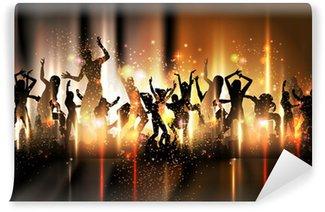 Vinyl-Fototapete Party-Sound-Hintergrund Illustration mit tanzenden Menschen
