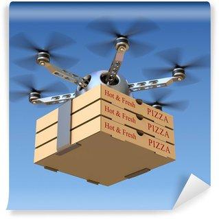 Vinyl Fototapete Pizza-Lieferservice in der Drohne
