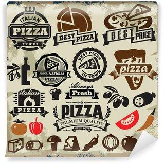 Vinyl Fototapete Pizza sign set
