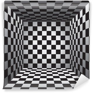 Vinyl-Fototapete Plaid-Raum, Schwarz-Weiß-Zelle, 3D Schachbrett, Vektor-Design-Hintergrund