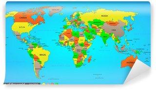 Vinyl-Fototapete Politische Weltkarte