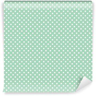 Vinyl-Fototapete Polka Dots auf frischer Minze Hintergrund nahtlose Vektor-Muster