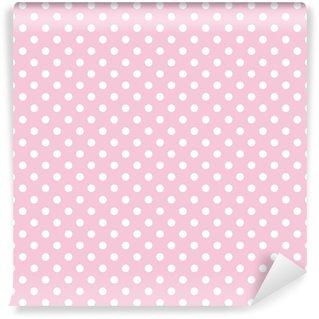 Vinyl-Fototapete Polka Dots auf rosa Hintergrund retro nahtlose Vektor-Muster