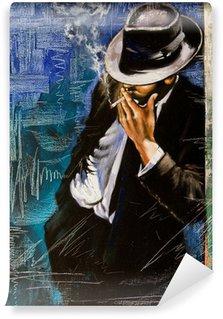 Vinyl Fototapete Portrait des Mannes mit einer Zigarette