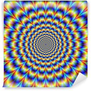 Vinyl-Fototapete Psychedelic Pulse in Blau und Gelb