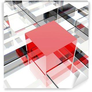 Vinyl-Fototapete Red cube