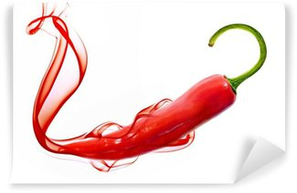 Vinyl-Fototapete Red hot chili pepper with smoke on white