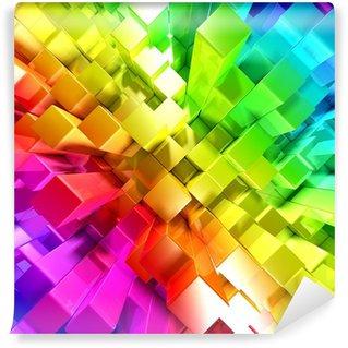 Vinyl-Fototapete Regenbogen aus bunten Blöcken
