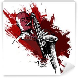 Vinyl-Fototapete Saxophonist auf einem Grunge-Hintergrund