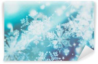 Vinyl-Fototapete Schimmernde Unschärfe Spotlichter auf abstrakten Hintergrund. Muster der Schneeflocken