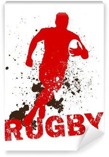 Vinyl-Fototapete Schmutzige Rugby-Spieler